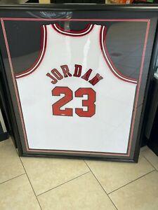 Michael Jordan Signed Autographed Framed Chicago Bulls White Jersey Upper Deck