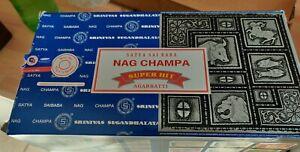 SATYA SAI BABA NAG CHAMPA INCENSE STICKS JOSS INSENSE 15G x 12 boxes  Brand New