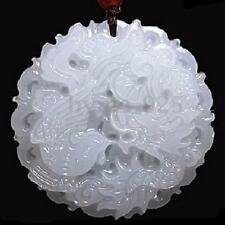 Natural Buddhist Hand-carved Chinese White Jade Dragon Phoenix Amulet Pendant