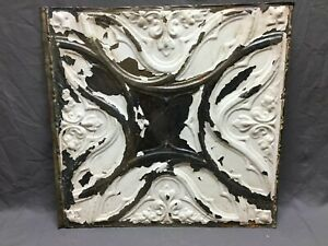 "Antique Decorative Tin Metal Ceiling 2' x 2' Shabby Vtg 24"" SQ Chic Old 15-20B"