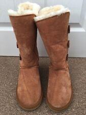 Ladies Ugg Australia Cowskin Brown Tan Boots Warm Wool Lining Size UK 5 SB21