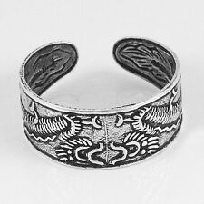 Adjustable Toe Ring (str32) .925 Sterling Oxidized Silver Dragon