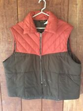 Vintage Wrangler Puffer Vest Brown Dk Orange Western Cowboy USA Made Sz XXL 2XL