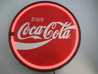 Coca-Cola 12 Inch Bottle Cap LED Lighted Sign Red Enjoy Script Logo