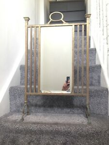 LARGE ANTIQUE HEAVY BRASS MIRRORED FIRE SCREEN ART NOUVEAU DECO VICTORIAN CRAFTS