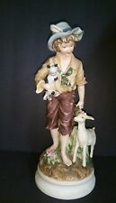Andrea by Sadek Porcelain Boy with Lamb and Cat Orginal Price Tag Attached