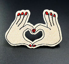 Heart Hands Embroidered Patch Iron On / Sew On Badges Applique Clothing Craft