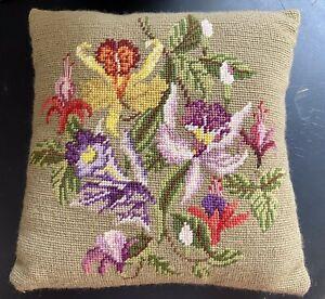 "Vintage Handmade Floral Needlepoint Pillow With Velvet Backing 11 1/2"" X 11 1/2"""