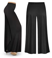 Black Wide Leg Plus Size Pants with Elastic Waist Slinky, Cotton, Boho Palazzo
