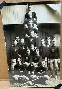 Early Antique PHOTO Tri Mountain INDOOR BASEBALL League Players Won Pennant 1910
