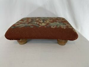 Antique Vintage Solid Wood Brown Needlepoint Victorian Low Foot Stool