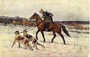 Antique VOROSHILOV  Hunt Hunting Hunter Borzoi Dogs Horse  Russian postcard