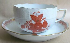 HEREND APPONYI CHINESE BOUQUET AOG RUST 724 CUP & SAUCER MINT/UNUSED (Ref7219)