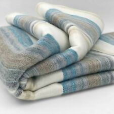 "SOFT & WARM STRIPED ALPACA LLAMA WOOL BLANKET THROW 95""x65"" QUEEN BED SOFA COUCH"