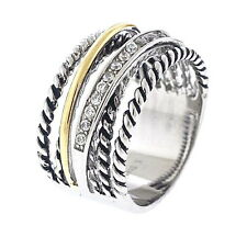 Stainless Steel Tri Color Stack Ring with Clear Crystals, Size-10