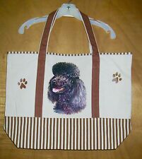 Black POODLE - 100% Cotton Canvas, heavy duty, X-Large TOTE BAG