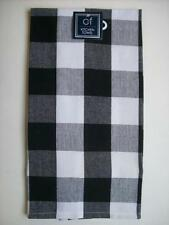 """Black and White Large (1 7/8"""") Check Cotton Dish Towels Set of 2"""