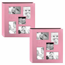 Two Pioneer Collage Frame Embossed Baby Sewn Leatherette Cover Photo Albums Pink
