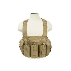 NcStar CVAKCR2921T Tan Chest Rig Heavy Duty Nylon 3 Double Magazine Pouches