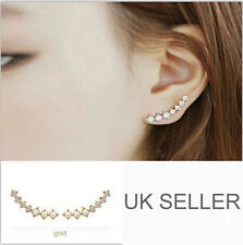 Ladies Pearl Cz Row Pearl Rhinestone Crystal Ear Cuff Gold Earrings - UKseller