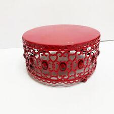 Jeweled Red Metal Round Display Platform Riser
