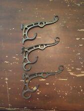 Antique Wrought Iron Ornate Design Coat Hooks Set of 3