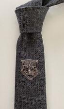 "New Ultra Rare Gucci Tie ""Tiger & BEE"" Grey/Black Slim Silk Italy ICONIC"