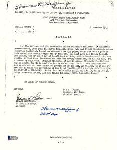 Thomas Griffin Signed Special Orders Document BAS D87813 Manhattan Project