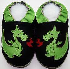 Minishoezoo soft sole baby leather shoes dragon black 6-12m gift walking