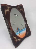 "Vintage YAPS Beach Scene Music Box Mirror Love Story 7.5"" 1984"
