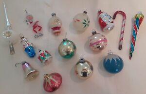 15 Vintage assorted Glass Christmas Ornaments- Santa, drum, balls & Tree Topper