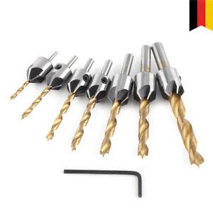 7tlg HSS Versenker Aufstecksenker Senker Senkbohrer Holzbohrer Set 3-10mm DHL