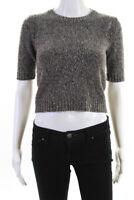 Theory Women's Short Sleeve Crew Neck Sweater Wool Gray Size Petite