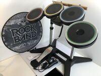 Wii Harmonix Rockband 2 Rock Band Wireless Drum Set w/ Dongle + MicrophoneNWDMS2