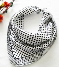 White dots Soft Neckerchief Shawl Head Bandanas Square Scarf Satin