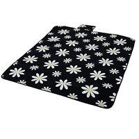 Camp Picnic Beach Folding Blanket Daisy Flower Fleece Waterproof Backing Rug Mat