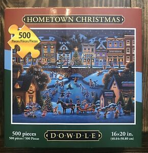 """Dowdle """"HOMETOWN CHRISTMAS"""" Jigsaw Puzzle  500 Piece COMPLETE"""