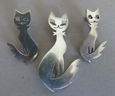 and Earrings Tn-82 25.2g (1398) Sterling Silver Mexican Taxco Cat Brooch