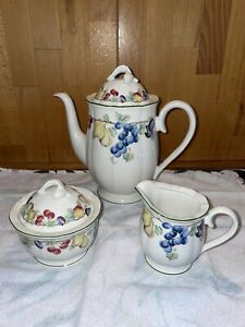 Villeroy & Boch Melina Kaffee Kanne Zuckerdose Milchkännchen Porzellan 3teilig