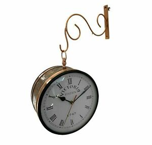 8'' Victorian Station Clock Double Sided Railway Copper Finish Home Decor