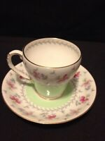 Vintage Royal Grafton Bone China Demitasse Flower Cup & Saucer Made England