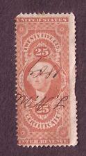 US Scott R44c 25 Cent 25¢ Used Revenue Certificate Stamp 1862 - 1871