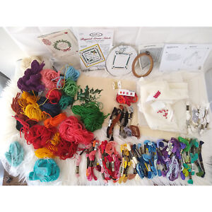 Huge LOT of Cross Stitch Embroidery Crewel 50+ Cotton THREADS 20+ YARNS + BOOKS