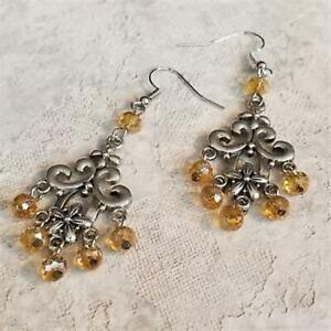 Victorian Amber Faceted Crystal Art Nouveau Silver Scroll Chandelier Earrings