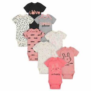 Gerber Baby Girls' Bunny Short Sleeve Bodysuits, 8pk