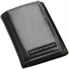 Tommy Hilfiger Classic Leather Credit Card Id Trifold Wallet Black