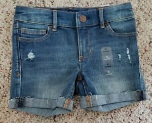 NWT Gap Girls Rolled Up Blue Denim Distressed High Stretch Jean Shorts Sz 5