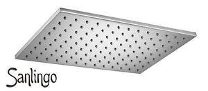 Design Dusche Regenschauer Duschkopf 20x30cm eckig massiv Messing Chrom Sanlingo