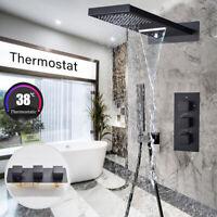 Thermostat Unterputz Duscharmatur Set Schwarz Regendusche Wasserfall Kopfbrause