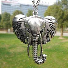 NEW Retro Vintage Silver Large Elephant Head Pendant Necklace N26